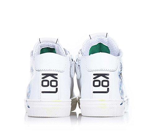 BE KOOL - Weißer Sneaker mit Schnürsenkeln, von der Welt der Street Art inspiriert, seitlich ein Reißverschluss, Metall-Ösen, zweifarbige Schnürsenkel, Unise Kinder