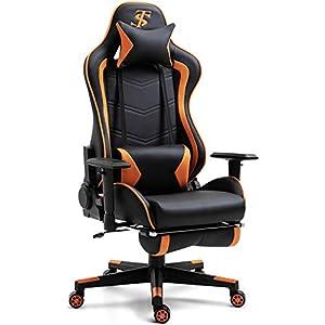 TIANSHU Chaise Gaming Chaise de Bureau Siège Ergonomique Accoudoir Réglable Cadre en Acier Angle d'inclinaison Réglable…