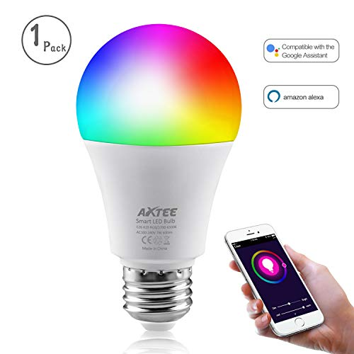 Smart Light Bulb, WiFi Smart Led Bulbs Dimmable Multicolored RGB, No Hub Required, Works with Amazon Echo Alexa and Google Home (7W 600LM) (1 Pack) by AXTEE