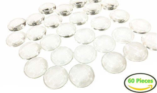Glass Dome Ring - 60 Pieces Glass Dome Cabochons Clear Round Cabochons Tiles Clear Cameo, Non-calibrated Round 1 inch/25mm For Cameo Pendants, Photo Jewelry, Rings, Necklaces