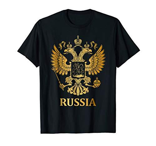 Proud Russia Arms Of Coat Russian Emblem Flag T-shirt ()