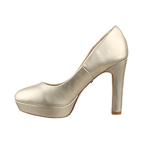 Elara Moderne Damen High Heels | Stiletto Schuhe | Plateau Pumps | Chunkyrayan Gold