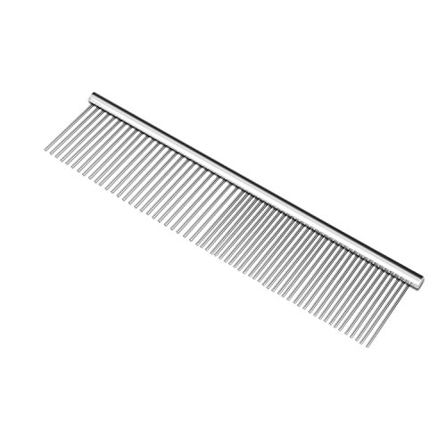 Flexzion Pet Grooming Comb Stainless Steel Cats Dogs Puppy Large Animals Fur Trimmer Brush Accessory Tool with Smooth Teeth Needle Durable Lightweight - 45mm
