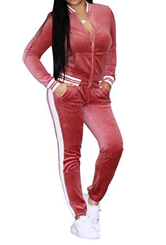 Piece Pink 2 Outfit (HannahZone Women's Casual 2 Pieces Outfits Long Sleeves Pants Jumpsuits Rompers For Ladies Pink Tracksuit Sets)