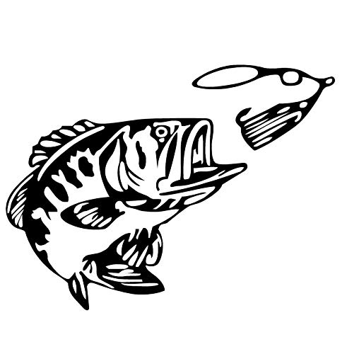 Bass and Spinner Decal Bass Fishing Sticker Spinner baits for Bass Fishing 1255 by Waterfowldecals (Small, White)