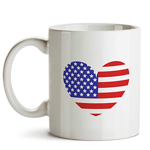 United States Flag With Heart Mug -