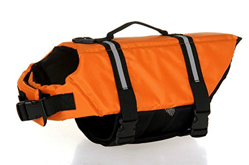 ISHOWStore Oxford Dog LifeJacket Ripstop Quick Release Easy-Fit Life Preserver (L, Orange)