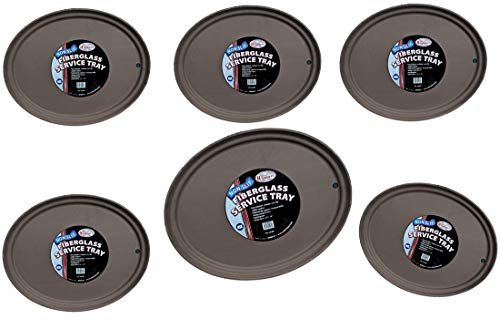 ((6) Pack Winco Oval Fiberglass Non-Slip Serving Trays 24