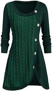 Dainzuy Plus Size Women Sweater Dress O-Neck Long Sleeve Solid Asymmetric Hem Chunky Button Knit Sweater
