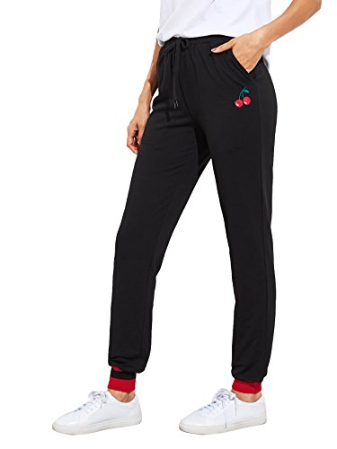 Drawstring Embroidered Sweatpants - 1