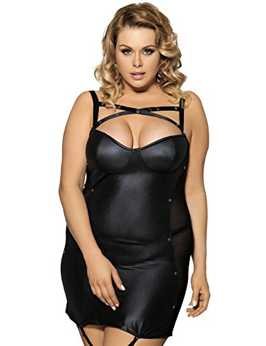 Maxde Women's Sexy Plus Size Faux Leather Lingerie Bodysuit with Garter Set for Sex with G-string (6XL=US20)