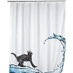 Wenko 20052100 Anti-Mold Cat Polyester Shower Curtain, Multicolor