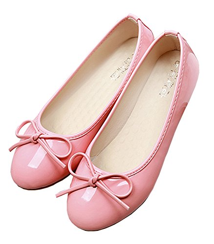 SHOWHOW Women's Sweet Solid Bow Round Toe Low Top Slip On Low Heel Dress Ballet Flats Shoes Pink 9.5 B(M) US