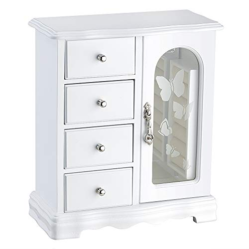 Round Rich Jewelry Box - Made of Solid Wood with 4 Drawers Organizer and Built-in Necklace Carousel and Large Mirror White
