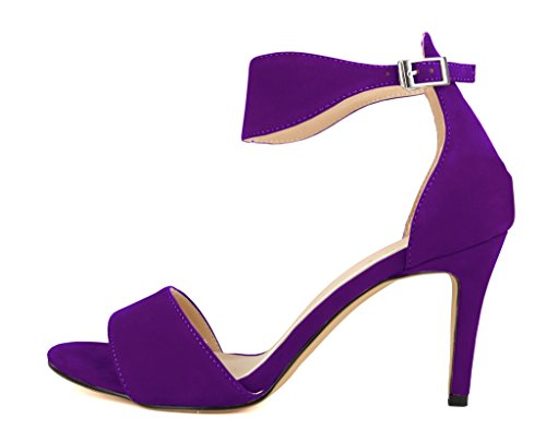 Strap Mid Pumps Heel Sandals Toe CAMSSOO Women's Ankle Purple Buckle Open q8wtYxA