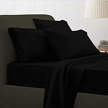 [hachette] KING SIZE BLACK 100% EGYPTIAN COTTON FITTED SHEET IN 200 THREAD  COUNT