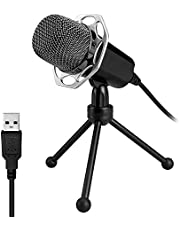 XIAOKOA PC Microphone, USB PC Microphone, Plug & Play Windows / Mac / PS4 Compatible Microphone, for Youtube, Podcast, Skype, Recordings, Games