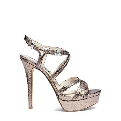 Michael Michael Kors Women's Cicely Platform Nickel Metallic Snake Sandal