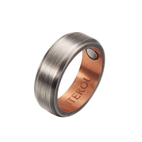 VITEROU 8MM Magnetic Pure Copper Therapy Ring with Powered Magnets for Arthritis Pain Relief Comfort Fit,Size 6-13 (10) by VITEROU