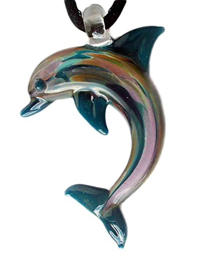 Glass Pendant Dolphin (Hand Blown Glass Teal Blue Dolphin Pendant, Necklace, Focal Bead)