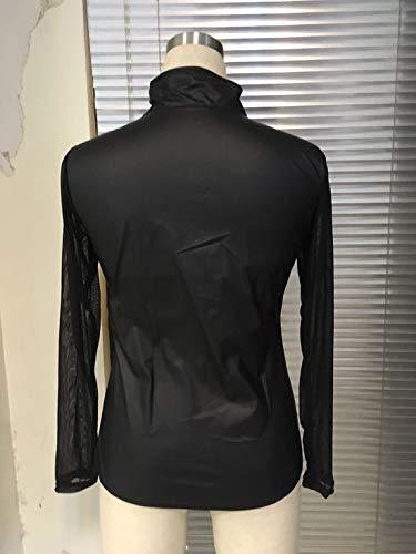 Longues Shirts Printemps Tees Fashion Tulle Tops et Jumpers Casual Slim Hauts Perspective Noir Shirts Automne Manches Blouse T Femmes xwHZgxv