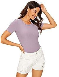Verdusa Women's Round Neck Short Sleeve Plain Bodysuit