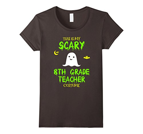 Womens Scary 8th Eighth Grade Teacher Costume Halloween T-Shirt Large Asphalt