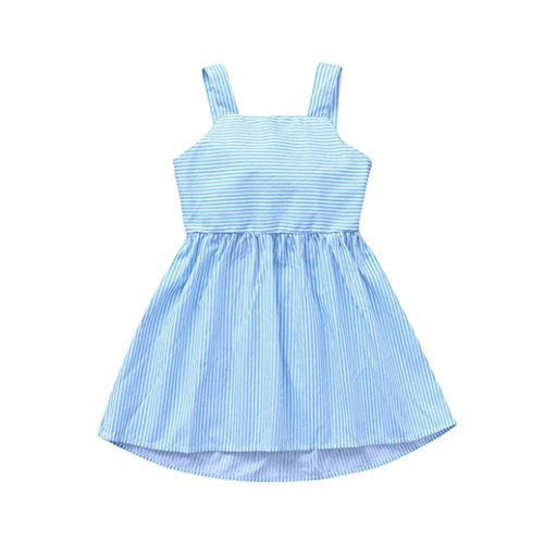 Price comparison product image vermers Clearance Deals Toddler Kids Dresses - Baby Girls Sleeveless Sling Stripes Bowknot Party Princess Dress(3T,  Blue)