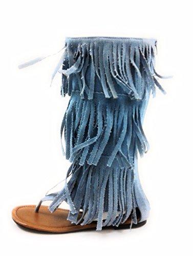 Bambu Kvinna Rhinestone Orm Spiral Ben-wrap Platt Sandal Stil Hänsynslösa-01m Lt.denim-anika66