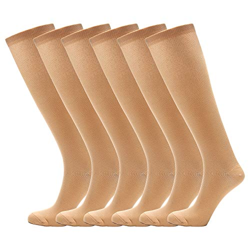 NOVAYARD 6 Pairs Knee High Graduated Compression Socks for Women and Men (15-20mmHg) (Home Pregnancy Test One Line Dark Other Light)