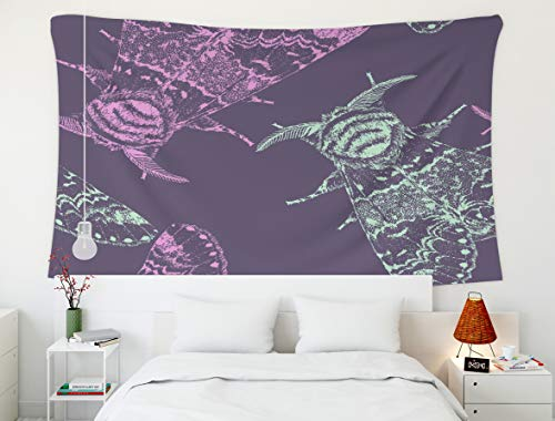Hnag Wall Tapestry,Boho Butterfly Tattoo,Tapestry,Shorping 80x60 InchInches Hanging Wall Tapestry for Décor Living Room Dorm Seamless pattern with the beautiful moth Isolated vector illustration Fanta -