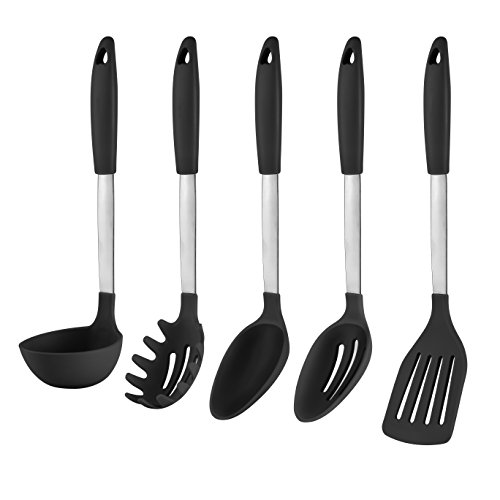 cooking Utensils Set By Kitchenbest - Made Of Stainless Steel & FDA Food Grade Silicone - BPA Free - Extremely Heat Resistant - Dishwasher Safe - Stylish Cooking Tools - Available In Different Colors