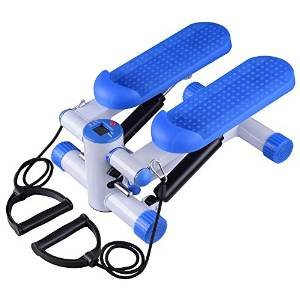 Exercise Mini-Stair Air Twister Stepper Fitness Machine Arms Legs Balance Control w/ Resistance Bands Blue & 220.46 lbs Capacity for Home Indoor Gym Muscle Strength Healthy