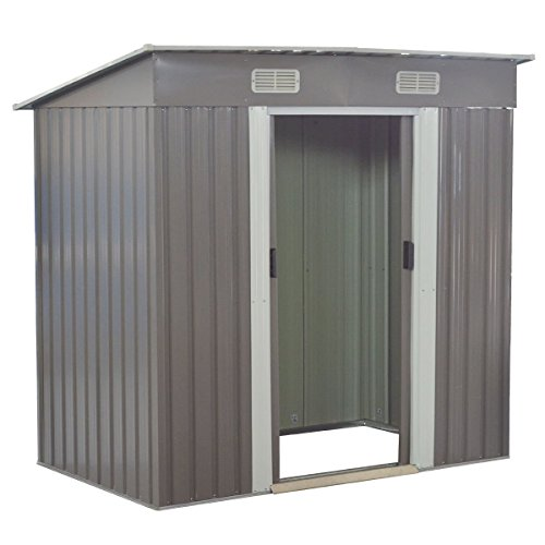 Goplus Garden Storage Shed Galvanized Steel Outdoor Tool House 4 x 6.2 Ft Heavy Duty W/ Sliding Door (Gray)