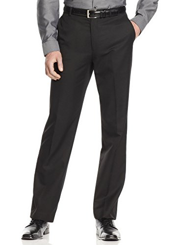 Calvin Klein Men's Straight Fit Flat Front Dress Pants Black