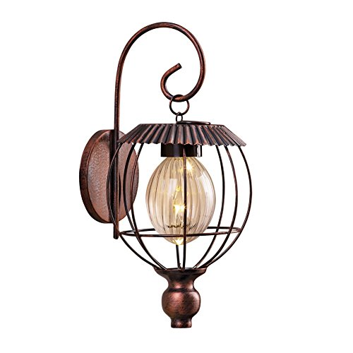 Solar Rustic Scroll Lantern Brown