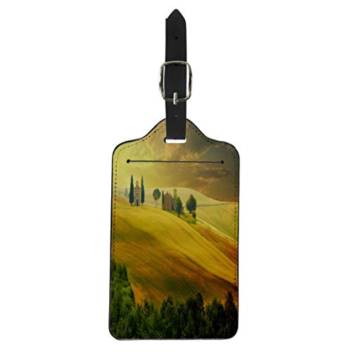 Pinbeam Luggage Tag Green Italy Landscape in Tuscany at Sunset Summer Suitcase Baggage Label