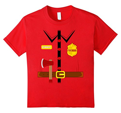 Kids Fireman Costume Shirt Halloween 4 Red