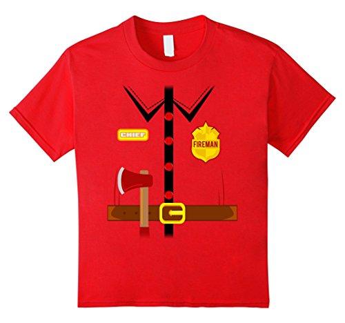 Kids Fireman Costume Shirt Halloween 4 Red