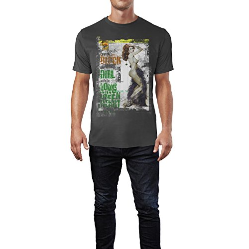 SINUS ART® The Girl with the Long Green Heart Herren T-Shirts stilvolles rauch graues Fun Shirt mit tollen Aufdruck