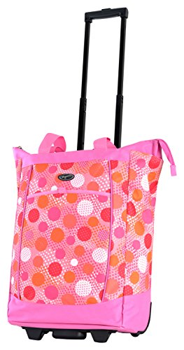 (Olympia Fashion Rolling Shopper Tote - Pink Polka Dots, 2300 cu. in.)