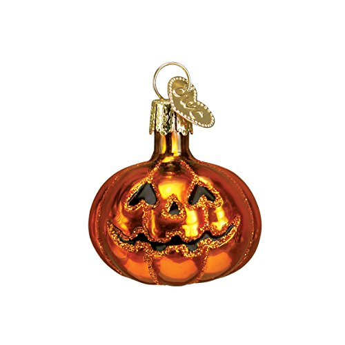 Old World Christmas Glass Blown Ornament with S-Hook and Gift Box, Halloween Collection (Mini Jack-O-Lantern)]()