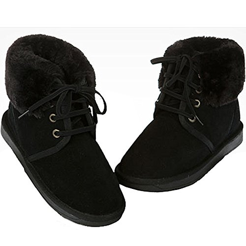 New Winter Short Shoes Womens Warm Snow Lace Boots Mooda Black Leather up rE06qOrw