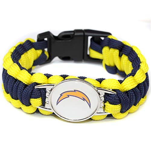 JJCat Men's One Size Knitted Color Patchwork San Diego Chargers Watch Band Survival Umbrella Rope Bracelet