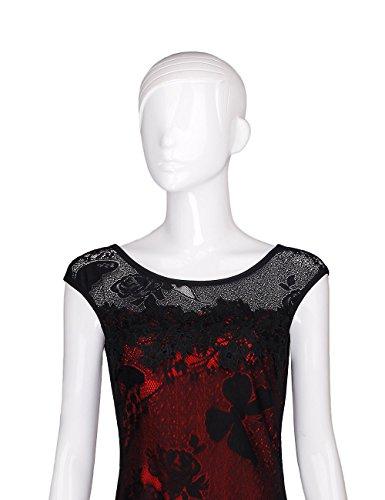 Mince Mode Sans Manches Été V-cou Moulante Femmes Adamaris Crayon Robe 187 Rouge