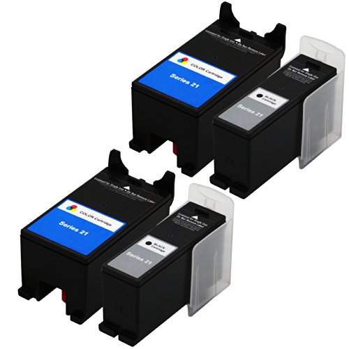 E-Z Ink (TM) Compatible Ink Cartridge Replacement For Dell Series 21 22 23 24 (2 Black, 2 Color) Y498D (GRMC3) Y499D (XG8R3) Compatible With P513w P713w V515w V715w V313 V313w All-in-One Printer