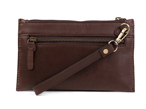 Dwellbee Leather Clutch Purse with Wristlet (Buffalo Leather, Brown) (Wristlet Brown)