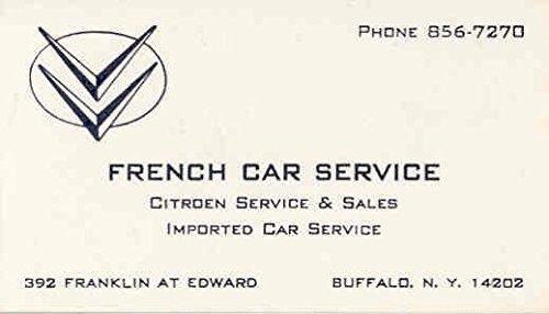 Amazon 1965 Citroen Dealer Business Card French Car Service
