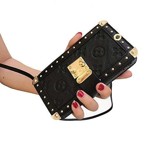 きらめき不調和非行Mrong iphone XR ケース 手帳型 カード収納 財布型 花柄 レザー エンボス加工 金属リベット アイフォン XR カバー ポータブル ストラップ付き ショルダーストラップ付き 携帯 スマホケース 6.1インチ 対応 (iphoneXR, 黒)