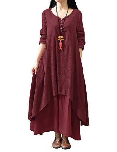 Romacci Women Boho Dress Casual Irregular Maxi Dresses Layer Vintage Loose Long Sleeve Linen Dress with Pockets,XX-Large,Red Wine ()